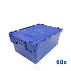 Palletaanbieding 68 distributiekratten transportkratten 600x400x250 blauw
