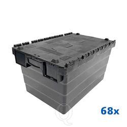 Palletaanbieding 68 distributiekratten transportkratten 600x400x320 zwart