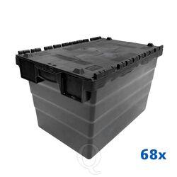 Palletaanbieding 68 distributiekratten transportkratten 600x400x365 zwart