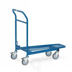 Cash & carry wagen, transportwagen 300 kg van staal en draadgaas met inklapbare duwbeugel 850x500