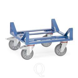 Rolplateau 400 kg 500x500 met beugelconstructie voor rollen en vaten