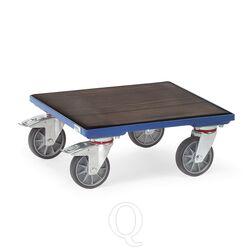 Rolplateau 400 kg 700x700 met houten platform en geribbelde rubbermat