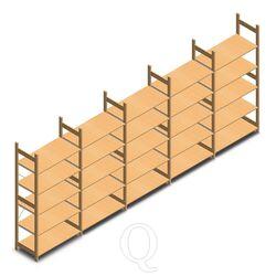 Voordeelrij houten legbordstelling bt euro 2100x5030x500