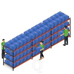 Voordeelrij AR bakkenkast 2000x6958x1200, 3 secties 4 niveaus met 120 distributiebakken