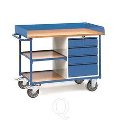 Werkplaatswagen 400 kg met 4 schuifladen en 3 laadvlakken 1120x650 mm