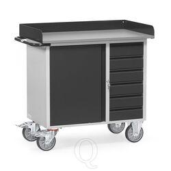 Werkplaatswagen van staalplaat 400 kg met 1 kast, 6 schuifladen en opstaande rand 985x590 antraciet