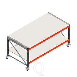 Werktafel grootvakstelling dubbellaags op wielen beginsectie zonder voorgemonteerde frames