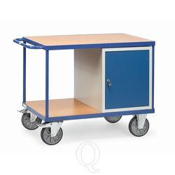 Zware werkplaatswagen 600 kg met 1 kast en 2 laadvlakken 1050x700 mm